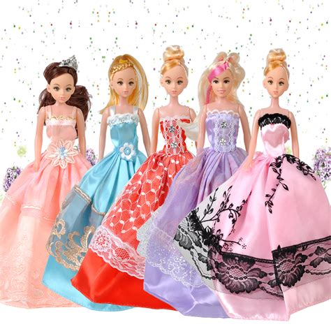Pretty Doll Dress 5pcs princess wedding bridal dress gown clothes