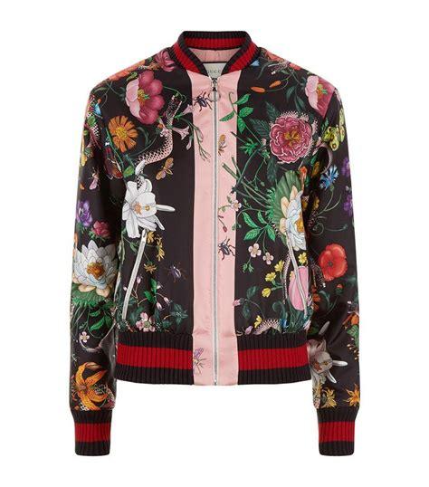 Ab Bomber Jacket Flower Wedges lyst gucci floral snake bomber jacket in black