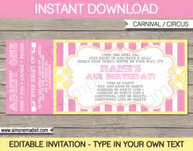 Birthday Ticket Template by Carnival Birthday Ticket Invitations Template Carnival