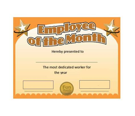 Employee Of The Month Certificate Template With Picture by 30 Printable Employee Of The Month Certificates