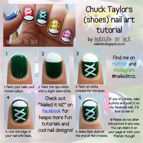 easy nail art converse nail art for short nails 9 chuck taylors shoe nails