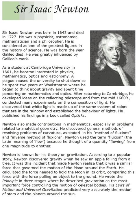 biography isaac newton in english grade 7 reading lesson 13 biographies isaac newton 1