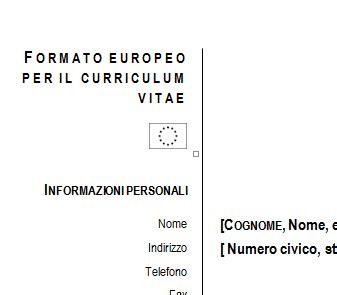 Formato Europeo Curriculum Vitae Da Compilare Curriculum Vitae Europeo Da Compilare
