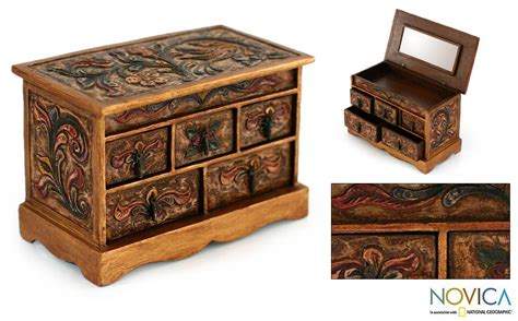 wood leather jewelry box antique the breast