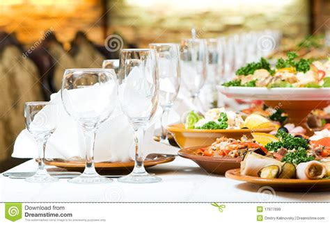 catering food table set decoration stock image