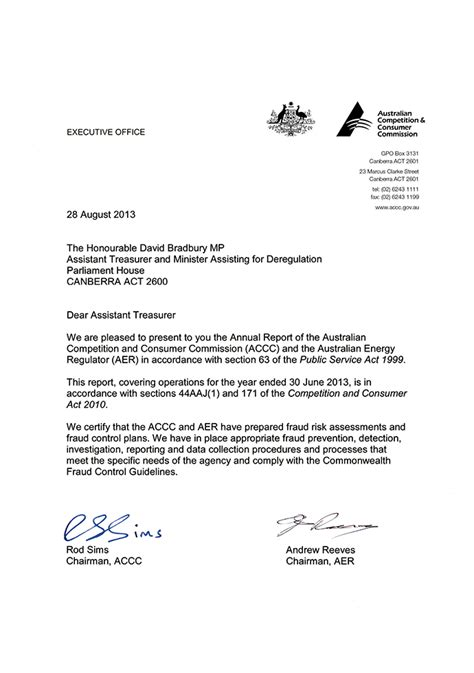 Transmittal Letter For Application Accc Aer Annual Report 2012 13 Letters Of Transmittal Accc