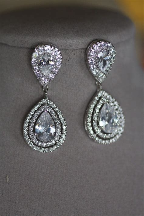 braut ohrringe tropfen bridal clip on earrings wedding swarovski crystal