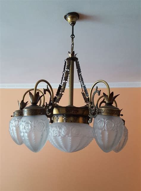 antique brass l with glass shade antique bronze and brass l with glass shade catawiki