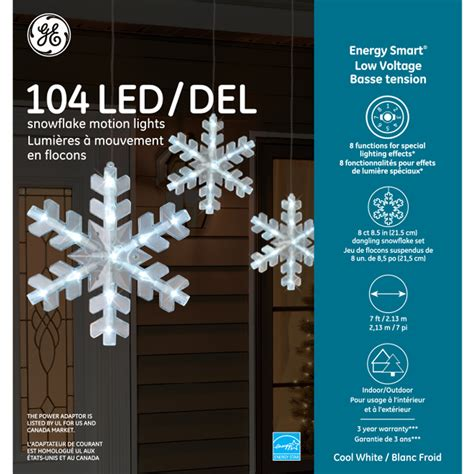 ge 3 ft hanging snowflake with chasing white led lights 88820 ge energy smart 174 low voltage led snowflake motion lights 104ct cool white ge