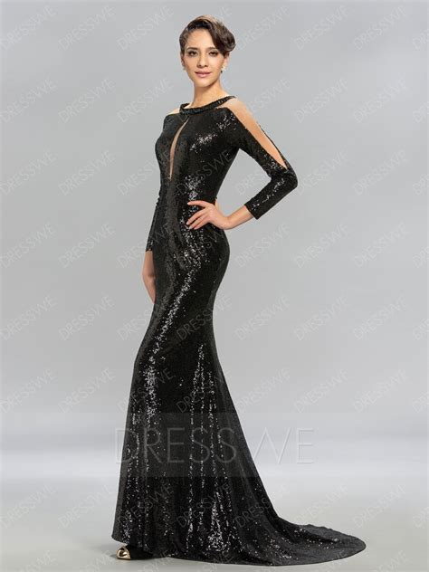 design evening dress long sleeves sequins evening dress with sweep brush train