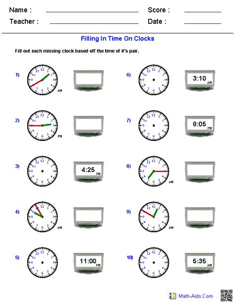 Analog Clock Practice Worksheets by Time Worksheets Time Worksheets For Learning To Tell Time
