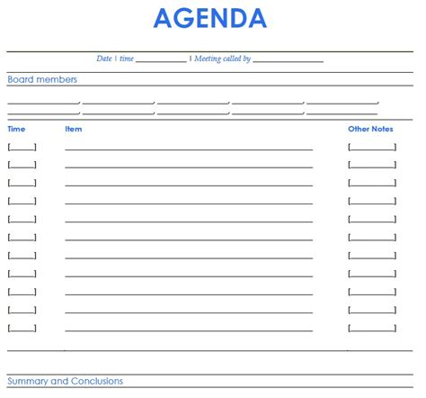 free printable meeting agenda template exle with