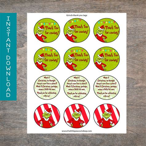 free printable grinch gift tags grinch thank you goodie gift bag tags who by