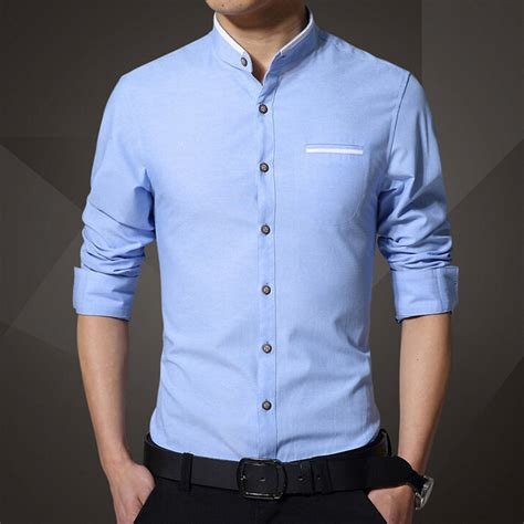 new brand s casual shirt sleeve banded collar