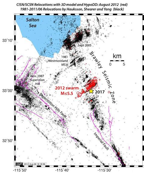 earthquake zone map southern extension of san andreas fault lights up in a