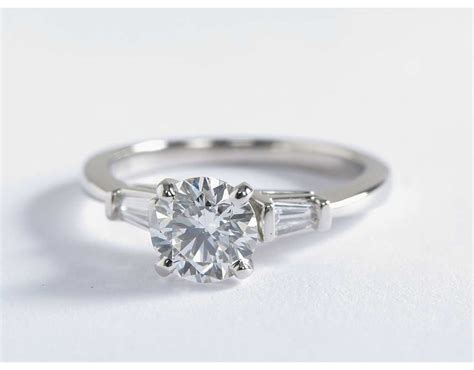 tapered baguette engagement ring in platinum 1 6