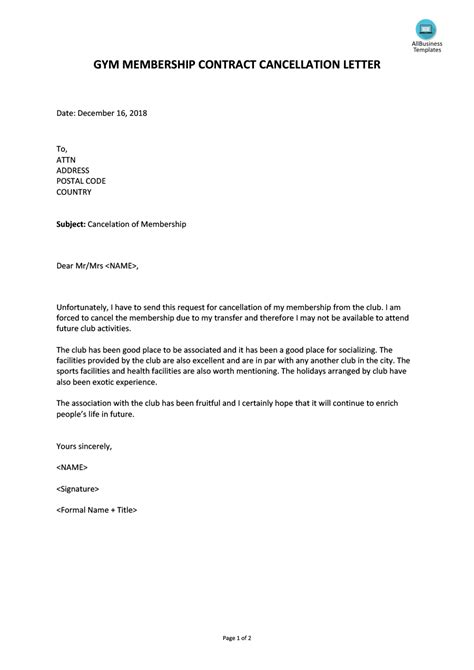 contract cancellation letter template business