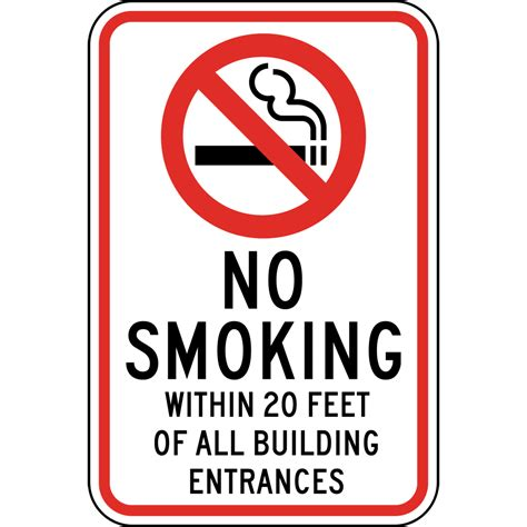 no smoking signs within 20 feet no smoking within 20 feet of all building entrances sign
