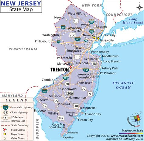 new jersey on the map of usa new jersey state map