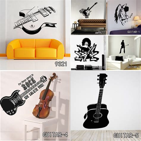 music decorations for home creative art guitar wall stickers home decor diy home