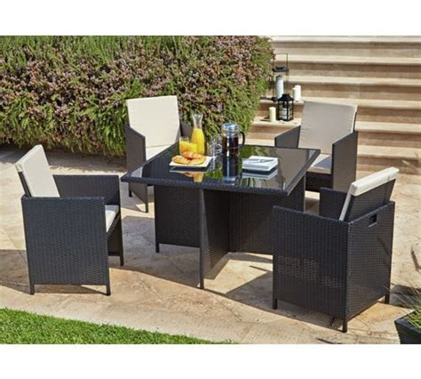 buy argos home cube  seater rattan effect patio set