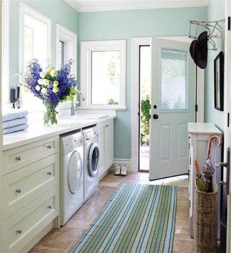 blue and white color laundy room home interiors