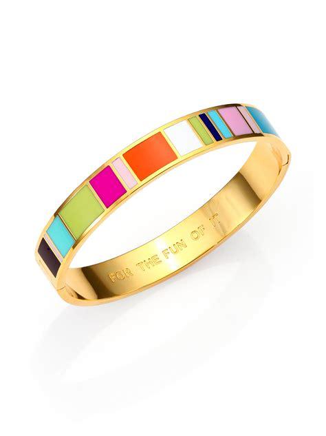Kate Spade For The Fun Of It Enamel Idiom Bangle Bracelet in Multicolor (GOLD MULTI)   Lyst