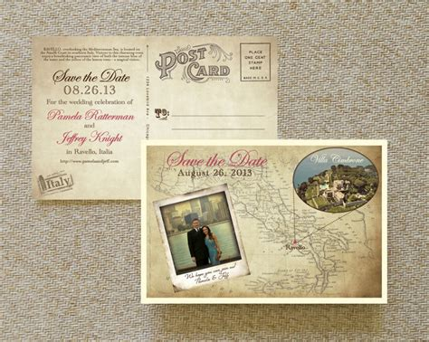 vintage postcard save the date template vintage map postcard save the date italy