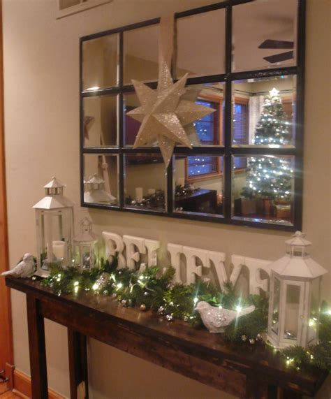decorated christmas console table    letters