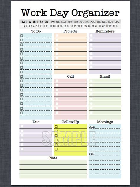 work day planner template mini work organizer half letter size printable planner