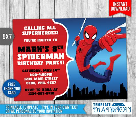 spiderman invitation birthday invitation psd by