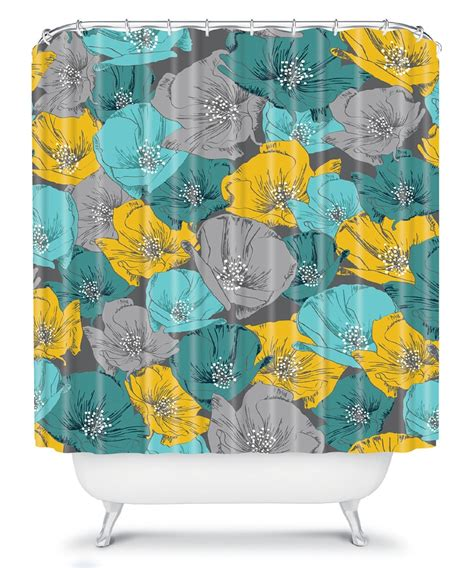 Teal And Yellow Curtains Teal Yellow Bryant Park Shower Curtain