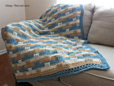 color pattern crochet crochet afghan and stenciled pillow vintage paint and