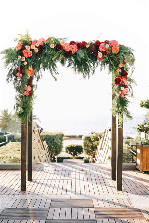 wedding decorations the knot burgundy and pink floral arch with garden roses oak and