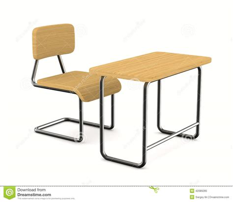 school desk and chair on white background stock