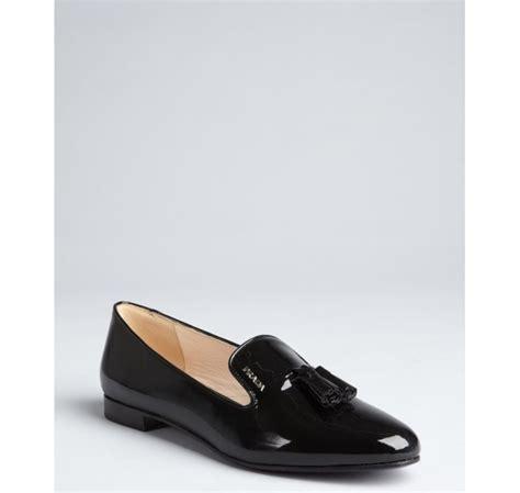 black patent leather loafers prada black patent leather tasseled loafers in black lyst