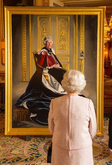 Striking portrait of the Queen clad in her garter robes is unveiled to celebrate her six decades