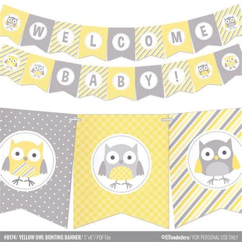 Yellow And Grey Owl Baby Shower by 17 Best Ideas About Baby Shower Bunting On