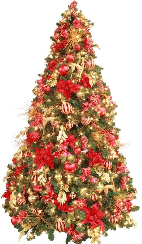 fully decorated red gold pre lit 7 5ft christmas tree