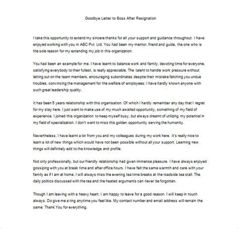 sle of appreciation letter to employee after resignation thank you letter to 9 free word excel pdf format