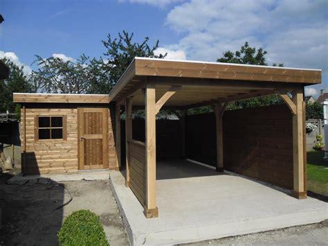 Plat Home carport met berging in ecologisch hout garden special