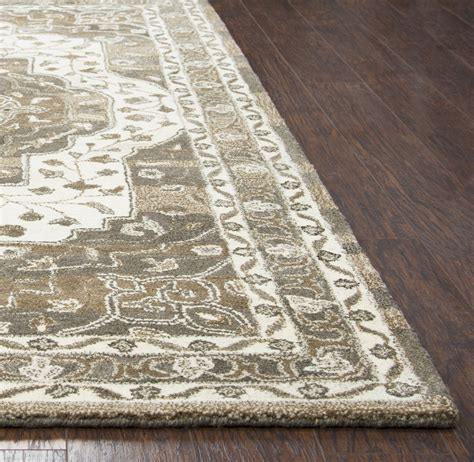 Suffolk Oriental Bordered Wool Area Rug In Beige Natural Wool Area Rugs