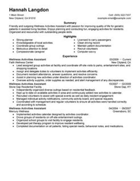 Resume Professional Activities Wellness Activities Assistant Resume Exles Wellness