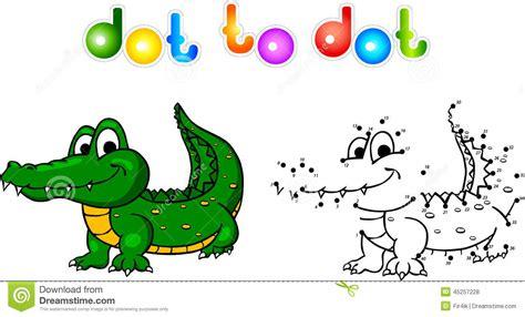 Funny Cartoon Crocodile Dot To Dot Stock Vector   Image
