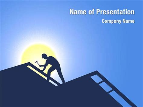 powerpoint themes roof builder on a roof powerpoint templates builder on a roof