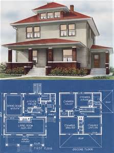 Midwestern Foursquare Modern Prairie Box 1921 C L Bowes American Foursquare House Plans Addition