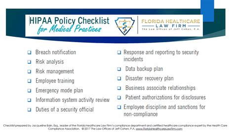 Hipaa Policy Checklist For Medical Practices Florida Healthcare Law Hipaa Mobile Device Policy Template