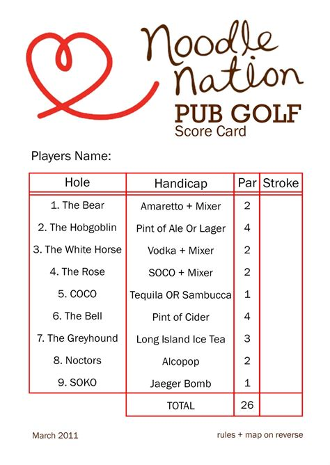 bar golf score cards template design mix noodlenation unofficial staff out