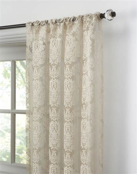 lacy curtains traditional damask lace pole top curtain panel