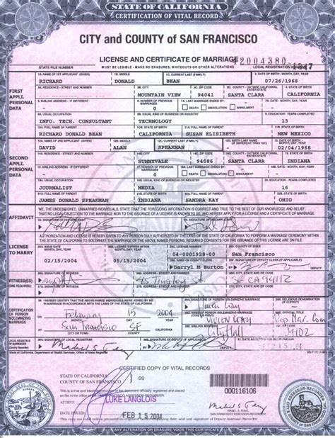 Marriage Certificate California Records California Removes Gender Specific Wedding License Language Glbt News